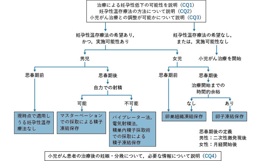 小児がん患者における妊孕性温存療法のアルゴリズム