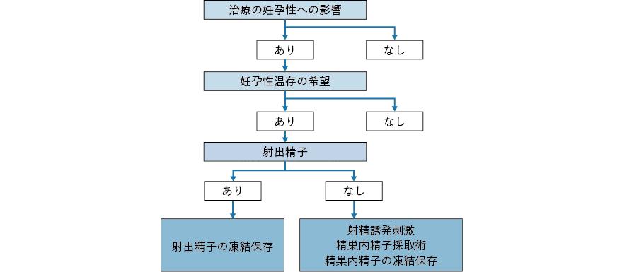 治療開始前の男性がん患者における妊孕性温存療法のアルゴリズム